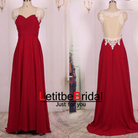 2015 New Ball Gown Cheap Sweetheart Sheer Back Burgundy Wine Red Chiffon Lace Prom Dress Gown Long/Formal Dress/Evening Dress/Party Dress