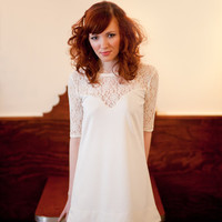 Lace Mod Mini Dress Ivory or Black in Small/Medium by yellowcake