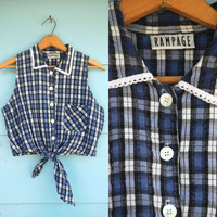 1990s. blue & white plaid crop top with tie by rampage. s-m