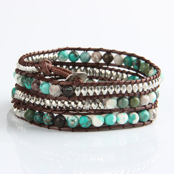 Variety Turquoise and Silver Mix Wrap Bracelet