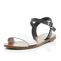 River Island Womens Black silver leather flat sandals