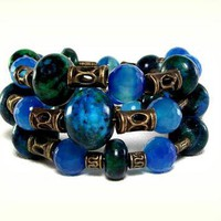 Yellow Turquoise and Blue Agate Nature Stone Wrap Bracelet