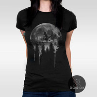 Moon spirit Screen printed Women's T-shirt. Available in XS,S,M,L,XL sizes. #women #clothing#shirt #forest #night #owl #street #fashion