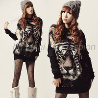 NEW Women&#x27;s Batwing Knitwear Tiger Long Sweater Jumper Pullover Ladies Tops