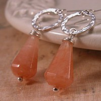 Handmade earrings, tangerine aventurine, hammered sterling silver