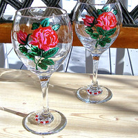 Hand Painted Valentines Day Red Roses Wine Glasses