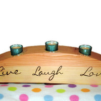 Wood Candle Holder Live Laugh Love - Centerpiece Votive Holder - Woodburnt Extra Large - READY TO SHIP