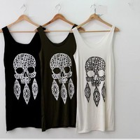Women Lady's korean fashion COTTON skull vest dress/top 71797-3colors