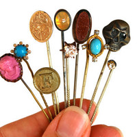 Antique Stick Pins Hat Pins Victorian Edwardian Rhinestone Cameo Set of 10
