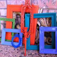 Funky Bright Home Decor, Upcycled Vintage Frame Set, Hollywood Regency, Apartment Decor