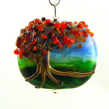 Landscape with Tree in Autumn Lampworked Glass by MercuryGlass