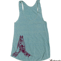 Womens NAMASTE american apparel Tri-Blend Racerback Tank Top S M L (8 Color Options)