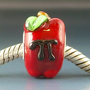 Apple Pi Geek Teacher Gift Handmade Lampwork Glass BHB European Charm Big Hole Bead sra Gelly