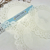 "Doilies 8"" French Lace Paper Round Doily White Glassine Greaseproof Qty 30"