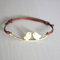 Love Birds Wish Bracelet - Matte Gold