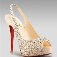 Christian Louboutin Glitter slingback platform pump - &amp;#36;225.00