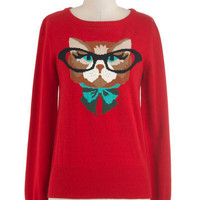 Cat Eyeglasses Sweater in Red | Mod Retro Vintage Sweaters | ModCloth.com