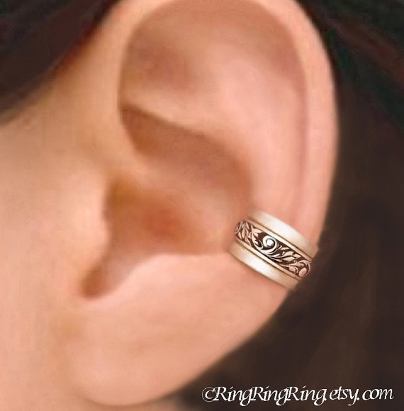 set of 3 engraved sterling silver ear from ring ring ring on. Black Bedroom Furniture Sets. Home Design Ideas