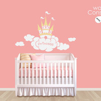 "Baby Nursery Wall Decal - Fun Princess Castle Wall Decal - Princess Castle Wall Decal - Nursery Wall Sticker - Large: 53"" by 35"" - K013"