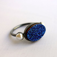 Midnight Blue Druzy Ring with Pearls
