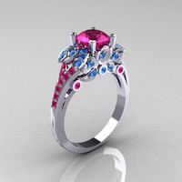 Classic 14K White Gold 1.0 CT Pink Sapphire Blue Topaz Solitaire Wedding Ring R203-14KWGPSBT