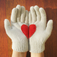 Heart Gloves, Cream Gloves with Red Felt Heart