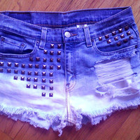 Ripped Studded Bleached Shorts