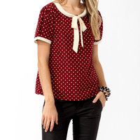Polka Dot Tie Collar Top