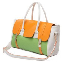 SAFIYA Orange Green Textured Top Double Handle Dual Turn Lock Office Tote Shopper Hobo Satchel Handbag Purse Shoulder Bag: Amazon.com: Clothing