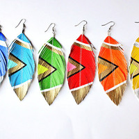 Aztec Summer Brights - YOU Pick Color - 4.5 inch - Handpainted Faux Leather Feather Earrings - Surgical Steel - Free Shipping