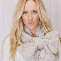 Knitted Bow Scarf Chunky Neck Warmer Vanilla Latte (SCBW-04)