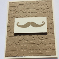 Mustache Birthday Card, Embossed, Hand Stamped