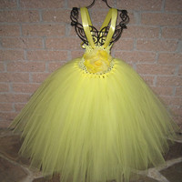 Tutu Dress. LEMON CHIFFON, Elastic Bodice, Toddler Girls, Size 1-4 T