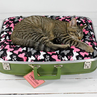 $59 Upcycled Vintage Green Suitcase Cat and Dog Bed by AtomicAttic