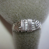 Wire Wrapped, Wave, Ring, .925 Sterling Silver, Size 7 1/4 - 7 1/2 by watercolorsNmore