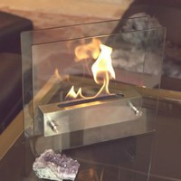 Irradia Tabletop Fireplace Tempered Clear Glass Brushed Stainless Steel | www.hayneedle.com
