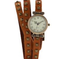 Stud-y Abroad Watch in Cognac | Mod Retro Vintage Watches | ModCloth.com
