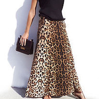 Women Long Maxi Leopard Animal Print Skirt Stretch Bodycon with Pockets - NEW