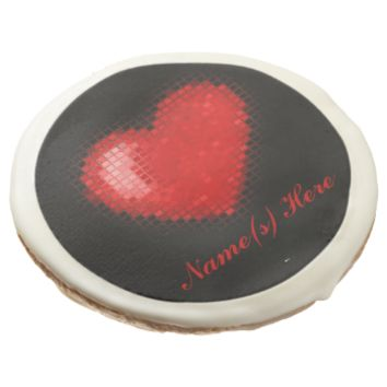 Tiled Mosaic Heart (Bright Red) Sugar Cookie