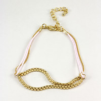 Gold Chain Stacking Bracelet - Pink - One