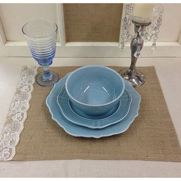 """Burlap Placemat sets 14"""" x 18""""  with Lace on the side"""