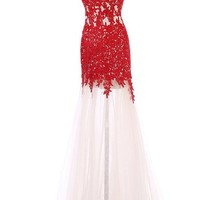 Champagne and Red Mermaid Lace Prom Evening Dresses Bridesmaid Gowns