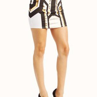 metallic-geometric-printed-mini-skirt WHITEGOLD - GoJane.com