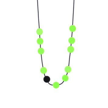 modern jewelry, resin necklace, green and black,