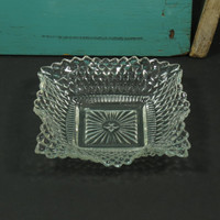 Federal Glass •  Depression Glass • Square Ruffled Bon Bon Dish • Diamond