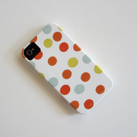 Polka Dot iPhone 4/4s case Pattern Geometric Circles Red Yellow Blue Orange redtilestudio