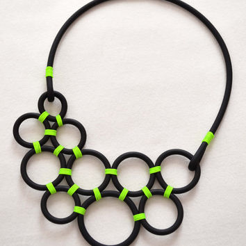 Neon Green circles necklace, spring summer necklace, time out new york, statement necklace, neoprene jewelry