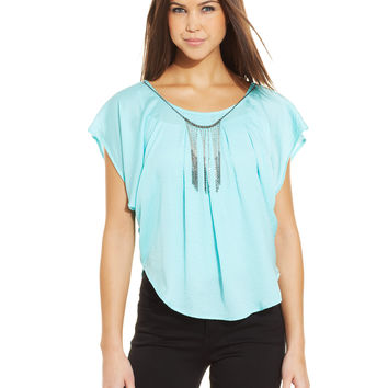 BCX Juniors' Pleated Necklace Top