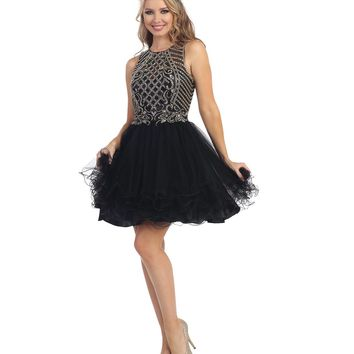 Preorder - Black Sheer Embellished Beaded Chiffon Dress Prom 2015