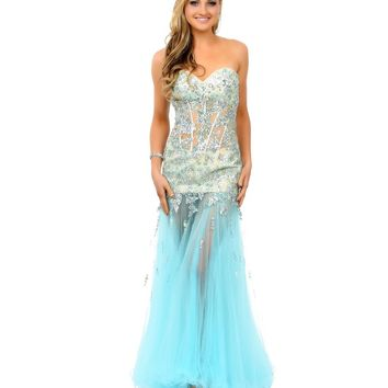 Mint & Nude Beaded Strapless Sweetheart Illusion Tulle Mermaid Gown Prom 2015